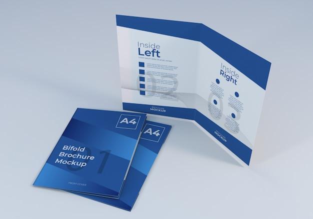 シンプルなミニマリストa4二つ折りパンフレットモックアップデザイン