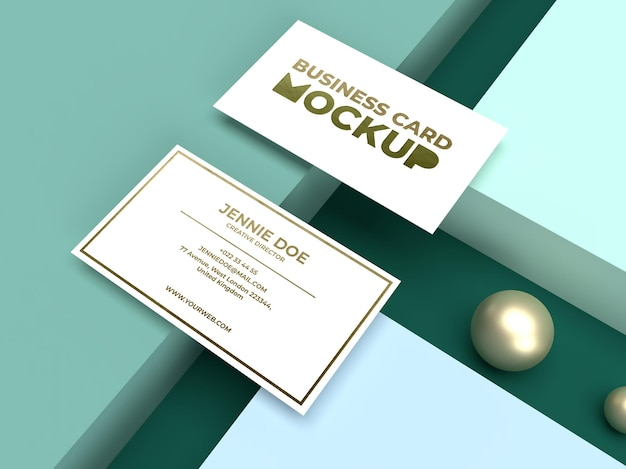 Simple minimalist business card with luxury shiny texture mockup