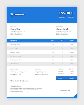 Simple minimalist business invoice template design