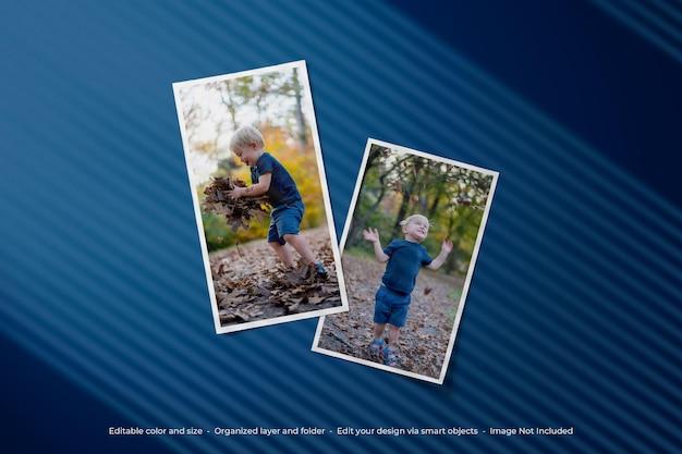シンプルなミニマリストのムードボード写真ポラロイド モックアップ デザイン