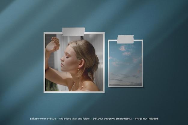 단순한 미니멀리스트 moodboard 사진 폴라로이드 모형