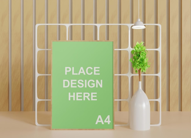 Simple minimalist wooden frame mockup with plant vase