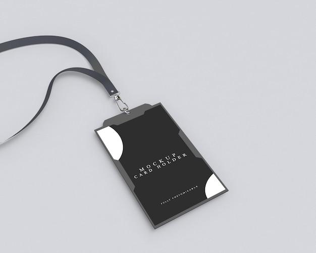 黒のidカードホルダーのシンプルなモックアップ