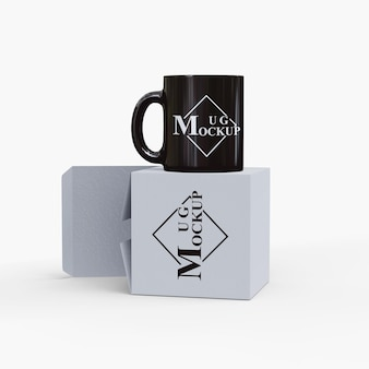 Simple mockup mug with box