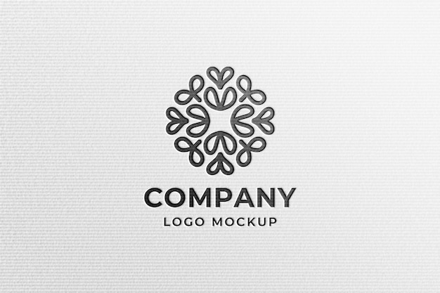 Простой современный черный макет логотипа на белой прессованной бумаге