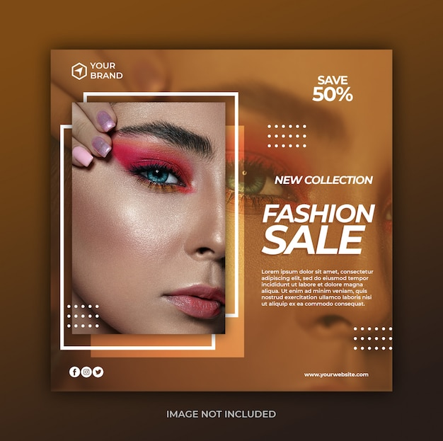 Simple modern fashion sale banner or square flyer for social media post template