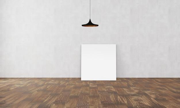Простой современный интерьер с коробкой для диванной лампы и пустым плакатом