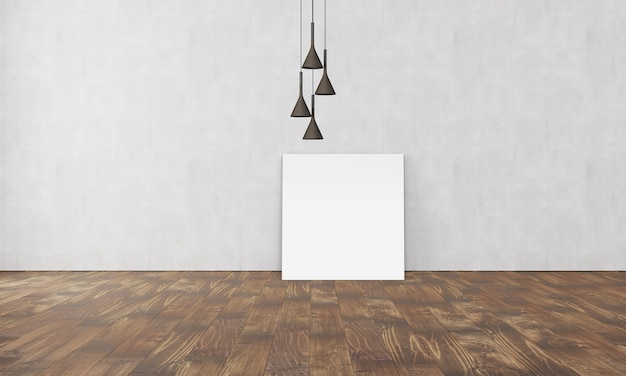 Simple modern interior with box sofa lamp and empty poster