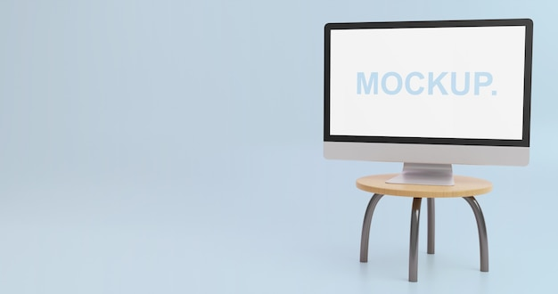 Simple monitor mockup on the table