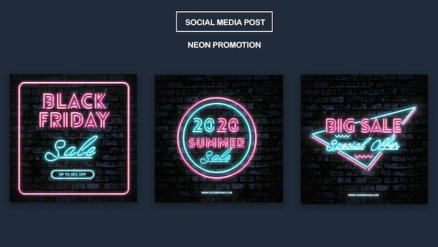 Simple neon promotion instagram template