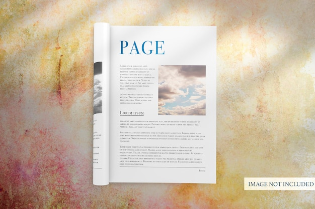 Simple opened portrait magazine with rolled page mock-up