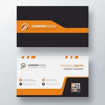 Simple orange visit card template