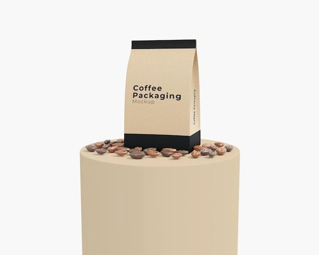 表彰台付きのシンプルな紙のコーヒーバッグのモックアップ