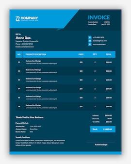 Simple professional dark business invoice template