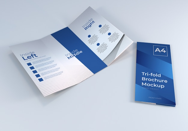 Simple realistic a4 trifold brochure paper mockup