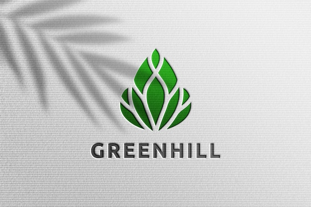 Simple realistic paper pressed logo mockup with plant shadow overlay