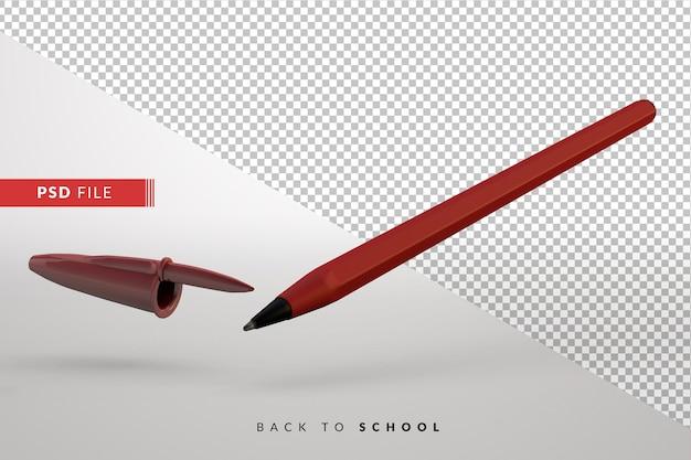 Простая красная ручка изолировала фон для 3d концепции обратно в школу