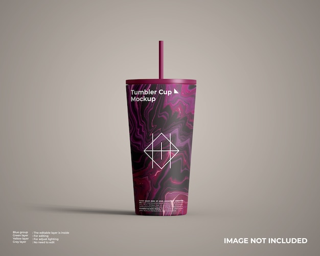 Simple red tumbler cup mockup