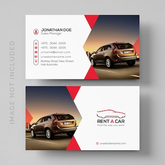 Simple rent a car business card mockup with image
