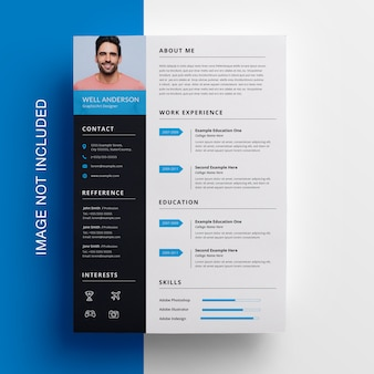 Simple  resume template with cyan accent