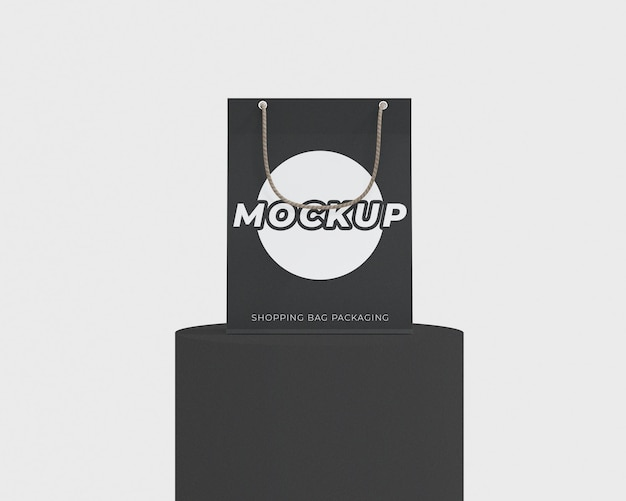 Simple shopping bag packaging mockup with a podium