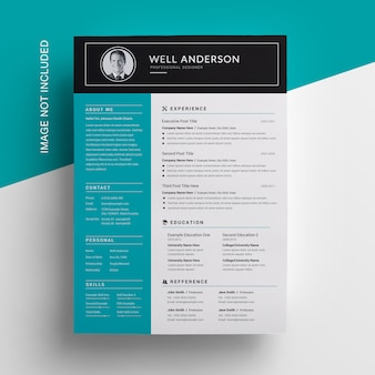 Simple sidebar resume design with paste accent