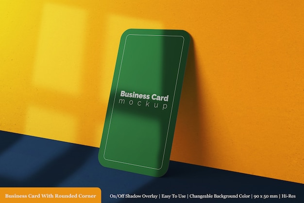 Simple single square rounded corner company business card mock up design