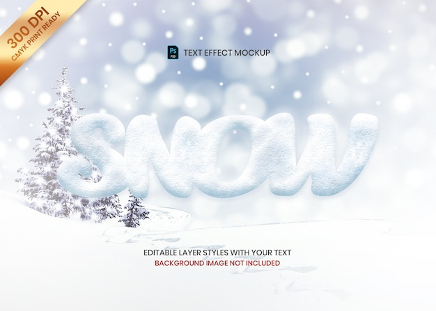 Simple snow texture logo text effect template