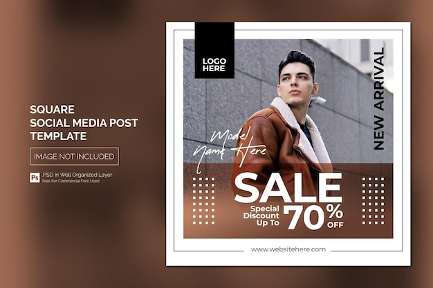 Simple square social media post or banner template for new arrival product promotion