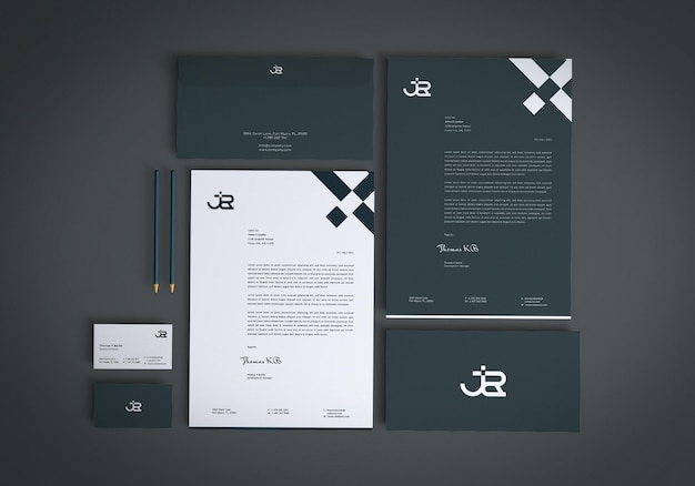 Simple stationery mockup design template