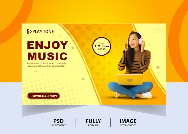 Simple stay home enjoy music web banner design