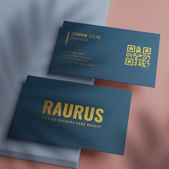 Simple textured business card mockup with gold design