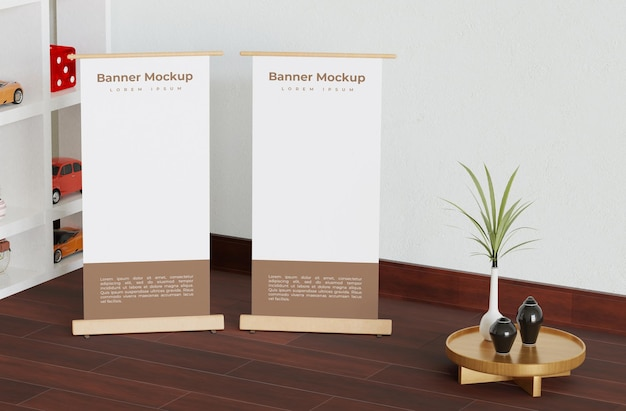Simple twobanner roll mockup in the room