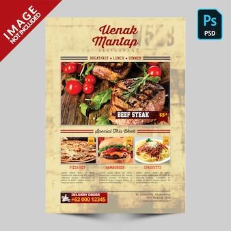 Simple vintage food menu