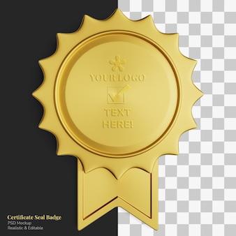 Simple vintage golden medal certificate seal pointed badge