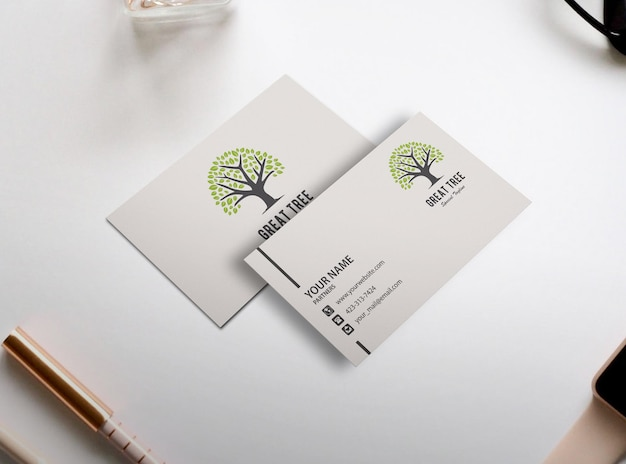 Simple white business card mockup design