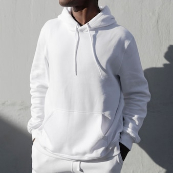 Simple white hoodie mockup psd comfortably sporty menswear