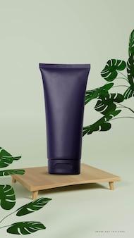 モンステラ植物とシンプルな木製の表彰台