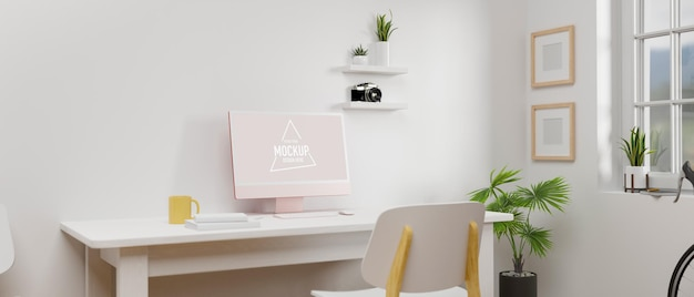 Simple working space with computer device mockup