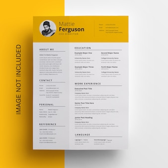 Simple yellow resume with topbar