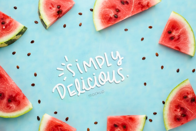 Simply delicious mock-up surrounded by slices of watermelon frame
