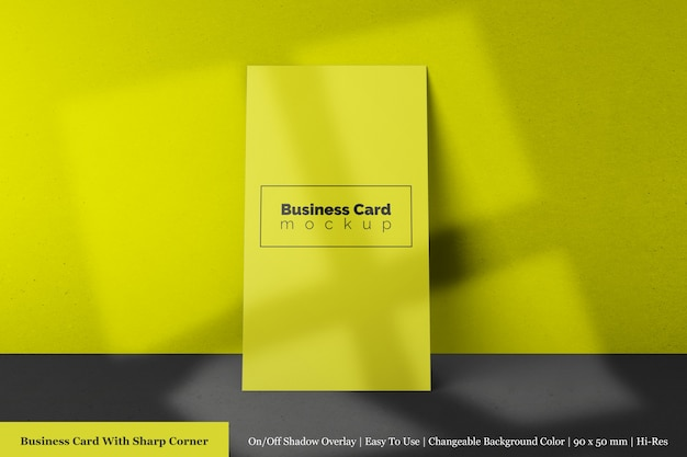 Single 90x50 mm modern business card with sharp corner mock-up front view