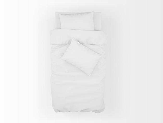 Mockup letto singolo isolato sulla vista dall'alto