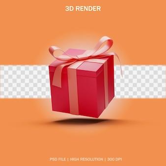 3d 디자인의 투명한 배경이 있는 단일 선물 상자