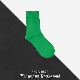 Одиночные зеленые носки на прозрачном фоне