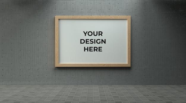Одиночный пейзажный деревянный постер или фоторамка на бетонной стене с макетом промышленной среды