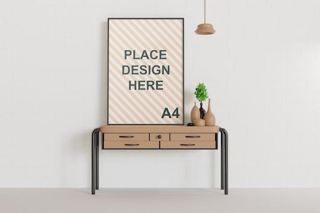 Макет рамки одного плаката на столе, вид спереди
