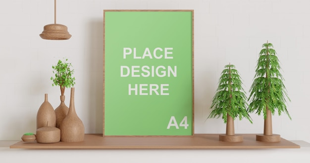 Макет рамки одного плаката на деревянном столе