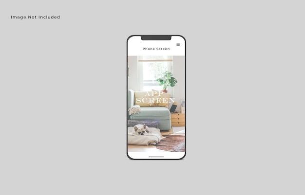 単一のスマートフォン画面モックアップ正面角度ビュー