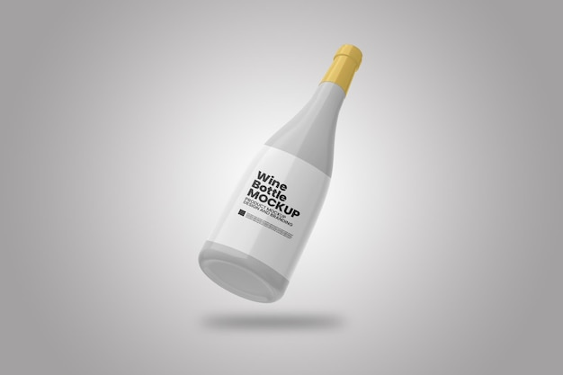 Single wine bottle mockup
